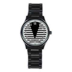 Black & White Stripes Big Triangle Stainless Steel Round Watch by EDDArt