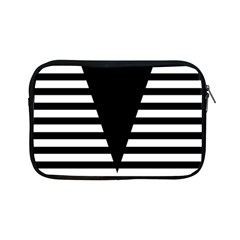 Black & White Stripes Big Triangle Apple Ipad Mini Zipper Cases by EDDArt