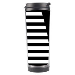 Black & White Stripes Big Triangle Travel Tumbler by EDDArt
