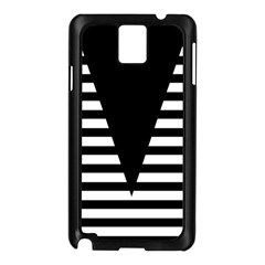 Black & White Stripes Big Triangle Samsung Galaxy Note 3 N9005 Case (black) by EDDArt