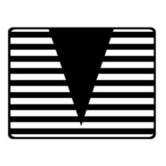 Black & White Stripes Big Triangle Double Sided Fleece Blanket (small)  by EDDArt