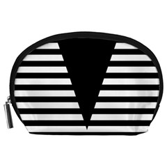 Black & White Stripes Big Triangle Accessory Pouches (large)  by EDDArt