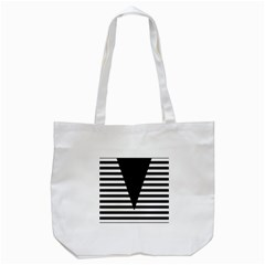 Black & White Stripes Big Triangle Tote Bag (white) by EDDArt