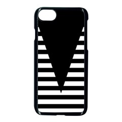 Black & White Stripes Big Triangle Apple Iphone 7 Seamless Case (black) by EDDArt