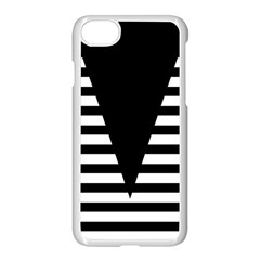 Black & White Stripes Big Triangle Apple Iphone 7 Seamless Case (white) by EDDArt