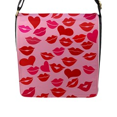 Valentine s Day Kisses Flap Messenger Bag (l)  by BubbSnugg