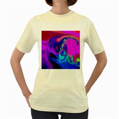 The Perfect Wave Pink Blue Red Cyan Women s Yellow T Shirt by EDDArt