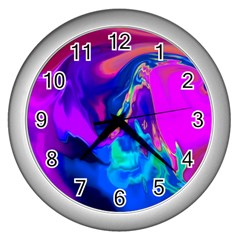 The Perfect Wave Pink Blue Red Cyan Wall Clocks (silver)