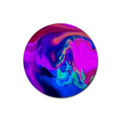 The Perfect Wave Pink Blue Red Cyan Rubber Coaster (round)  by EDDArt