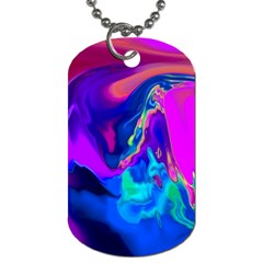 The Perfect Wave Pink Blue Red Cyan Dog Tag (one Side) by EDDArt