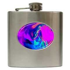 The Perfect Wave Pink Blue Red Cyan Hip Flask (6 Oz) by EDDArt