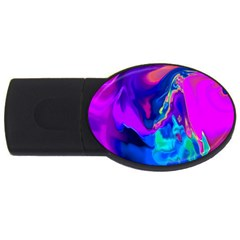 The Perfect Wave Pink Blue Red Cyan Usb Flash Drive Oval (2 Gb)  by EDDArt