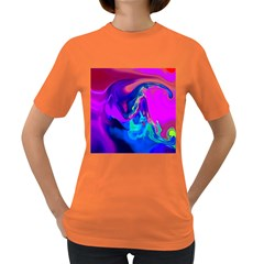 The Perfect Wave Pink Blue Red Cyan Women s Dark T Shirt by EDDArt