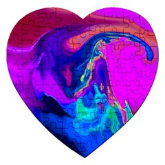 The Perfect Wave Pink Blue Red Cyan Jigsaw Puzzle (heart) by EDDArt