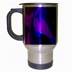 The Perfect Wave Pink Blue Red Cyan Travel Mug (silver Gray) by EDDArt