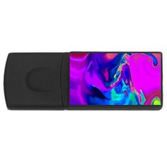 The Perfect Wave Pink Blue Red Cyan Usb Flash Drive Rectangular (4 Gb)  by EDDArt