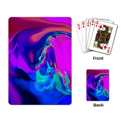 The Perfect Wave Pink Blue Red Cyan Playing Card by EDDArt