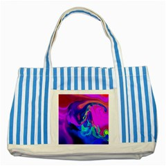 The Perfect Wave Pink Blue Red Cyan Striped Blue Tote Bag