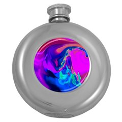 The Perfect Wave Pink Blue Red Cyan Round Hip Flask (5 Oz) by EDDArt