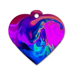 The Perfect Wave Pink Blue Red Cyan Dog Tag Heart (one Side) by EDDArt