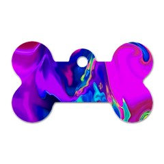 The Perfect Wave Pink Blue Red Cyan Dog Tag Bone (one Side) by EDDArt