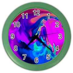 The Perfect Wave Pink Blue Red Cyan Color Wall Clocks by EDDArt