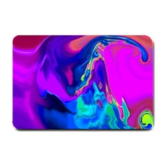 The Perfect Wave Pink Blue Red Cyan Small Doormat  by EDDArt