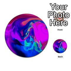 The Perfect Wave Pink Blue Red Cyan Multi Purpose Cards (round)  by EDDArt