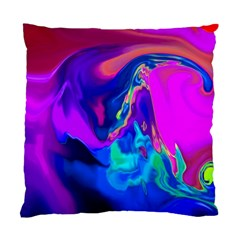 The Perfect Wave Pink Blue Red Cyan Standard Cushion Case (two Sides) by EDDArt