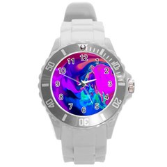 The Perfect Wave Pink Blue Red Cyan Round Plastic Sport Watch (l) by EDDArt