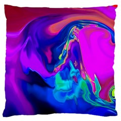 The Perfect Wave Pink Blue Red Cyan Large Cushion Case (one Side) by EDDArt