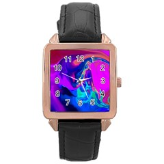 The Perfect Wave Pink Blue Red Cyan Rose Gold Leather Watch  by EDDArt