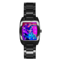The Perfect Wave Pink Blue Red Cyan Stainless Steel Barrel Watch by EDDArt