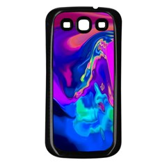 The Perfect Wave Pink Blue Red Cyan Samsung Galaxy S3 Back Case (black) by EDDArt