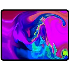 The Perfect Wave Pink Blue Red Cyan Double Sided Fleece Blanket (large)  by EDDArt