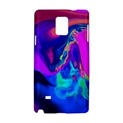 The Perfect Wave Pink Blue Red Cyan Samsung Galaxy Note 4 Hardshell Case by EDDArt