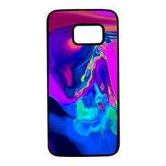 The Perfect Wave Pink Blue Red Cyan Samsung Galaxy S7 Black Seamless Case by EDDArt