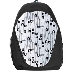 Safety Pin Pattern Backpack Bag by Mishacat