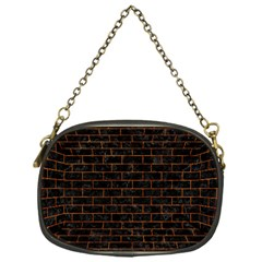 Brick1 Black Marble & Brown Marble Chain Purse (one Side)