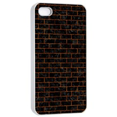 Brick1 Black Marble & Brown Marble Apple Iphone 4/4s Seamless Case (white) by trendistuff
