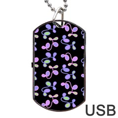 Purple Garden Dog Tag Usb Flash (two Sides)  by Valentinaart