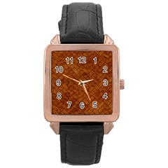 Brick2 Black Marble & Brown Marble Rose Gold Leather Watch  by trendistuff