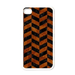 Chevron1 Black Marble & Brown Marble Apple Iphone 4 Case (white) by trendistuff