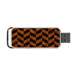 Chevron1 Black Marble & Brown Marble Portable Usb Flash (two Sides) by trendistuff