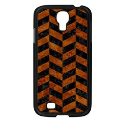 Chevron1 Black Marble & Brown Marble Samsung Galaxy S4 I9500/ I9505 Case (black) by trendistuff