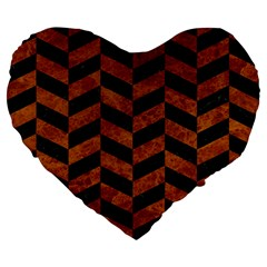 Chevron1 Black Marble & Brown Marble Large 19  Premium Flano Heart Shape Cushion by trendistuff