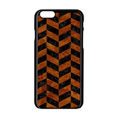 Chevron1 Black Marble & Brown Marble Apple Iphone 6/6s Black Enamel Case