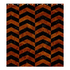 Chevron2 Black Marble & Brown Marble Shower Curtain 66  X 72  (large) by trendistuff