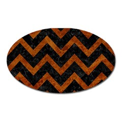 Chevron9 Black Marble & Brown Marble Magnet (oval) by trendistuff