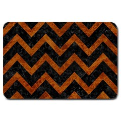 Chevron9 Black Marble & Brown Marble Large Doormat by trendistuff